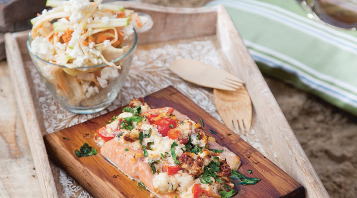 Hot smoked trout with apple and feta slaw recipe