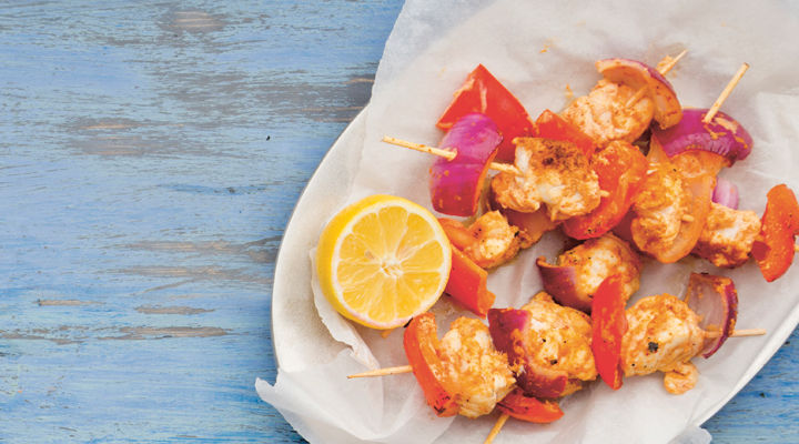 Red curry monkfish skewers recipe