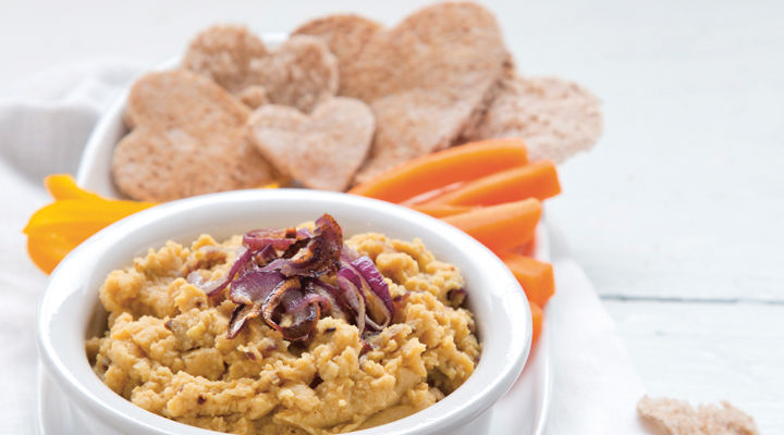Roasted red onion hummus recipe