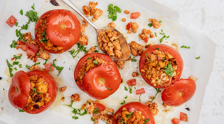 SuperValu Erica Ryan Baked Stuffed Tomatoes with Turkey Mince