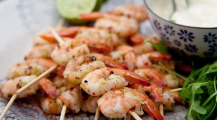 Black and pink pepper barbecued prawns