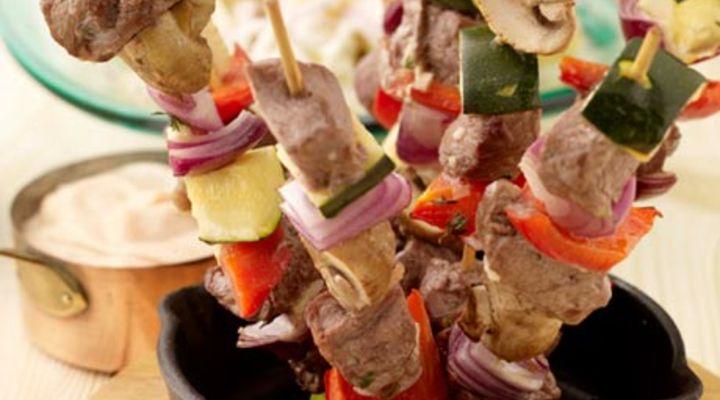Beef and Vegetable Skewers with Baby Potato Salad