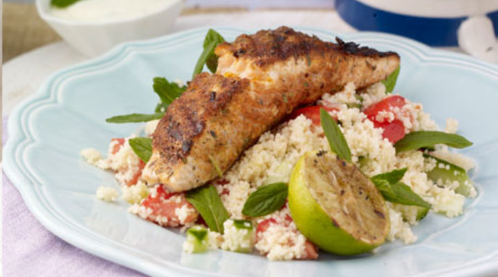 Blackened Salmon, Couscous, Lime dressing