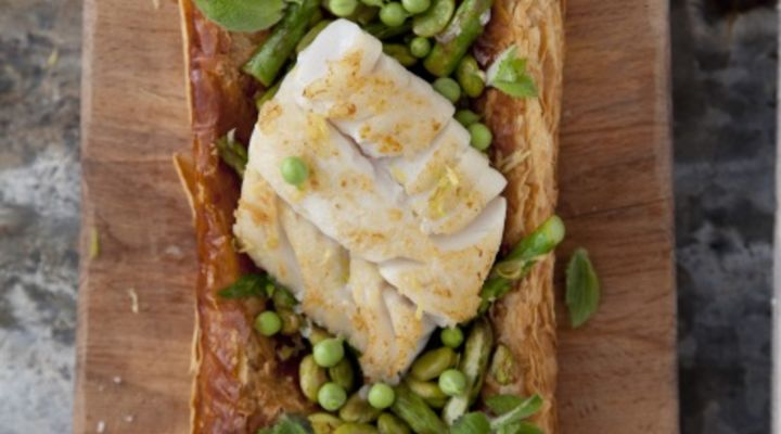 Cod, asparagus and broad bean tart