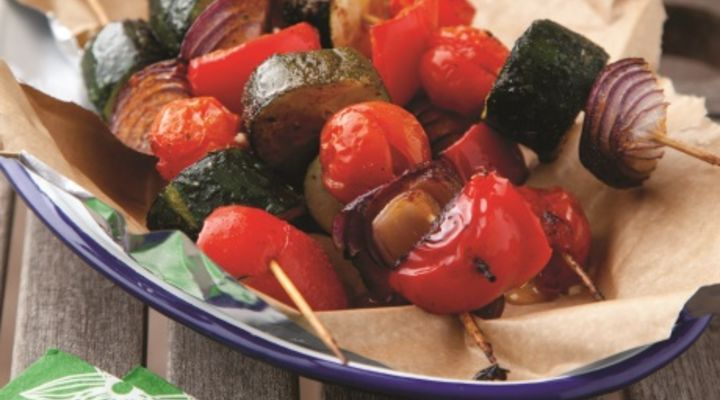 Cherry tomatoes and courgette skewers
