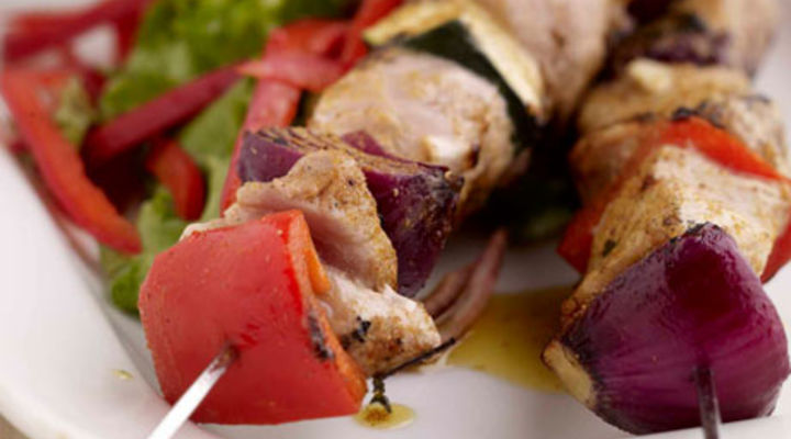Curried Pork and Vegetable Skewers with Warm Baby Potato Salad