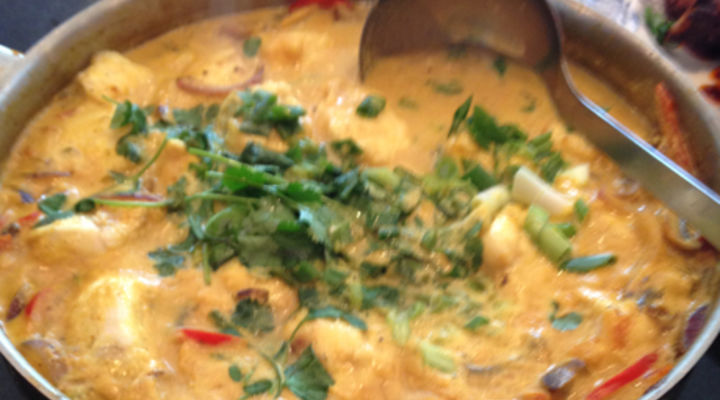 Mild Monkfish Curry with Coconut Milk