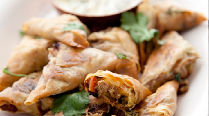 Lamb and Haloumi Mini Samosas