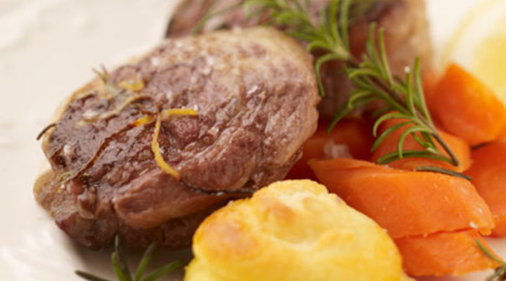 Lamb Noisettes with Lemon and Herb Jus and Duchesse Potato