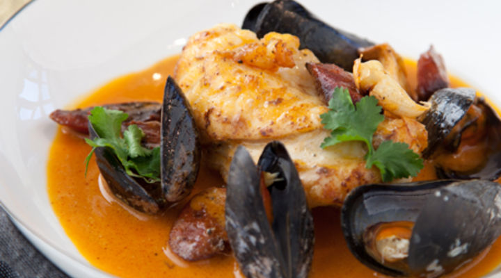 Monkfish with Chorizo and Mussel Broth