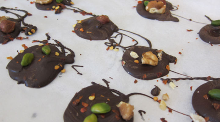 Mendiant of Nut and Chilli Chocolate Discs