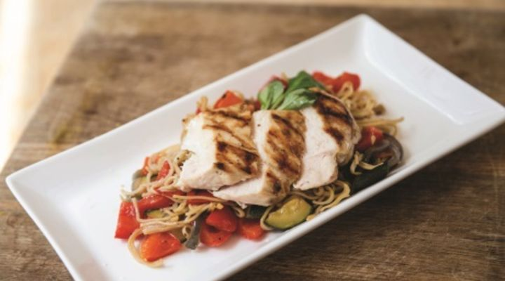 Pan-seared chicken noodle salad