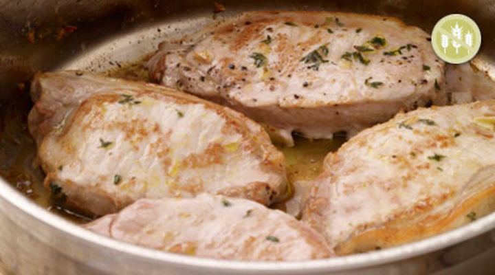 Pan Roasted Pork Chops with Buttered Cabbage and Mustard Mash