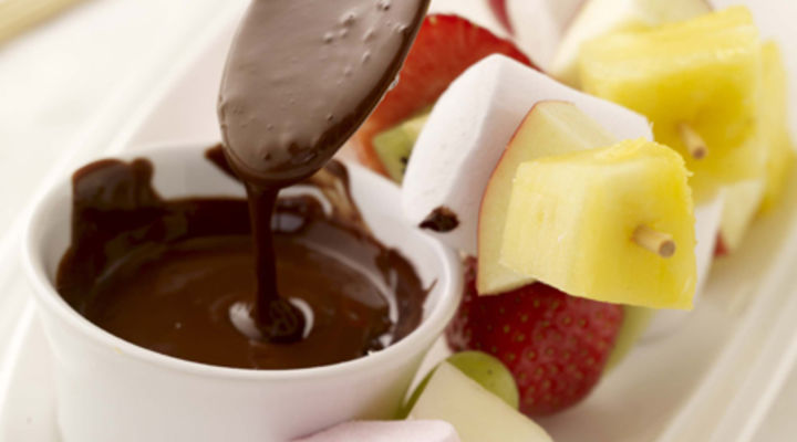 Fruit and Marshmallow Kebabs with Chocolate Sauce