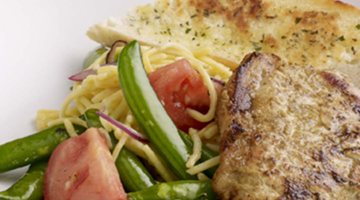 Barbecued Curried Pork Chops with Warm Noodle Salad