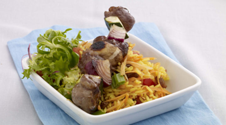 Beef and Vegetable Skewers with Soy and Honey Marinade and Curried Rice Salad