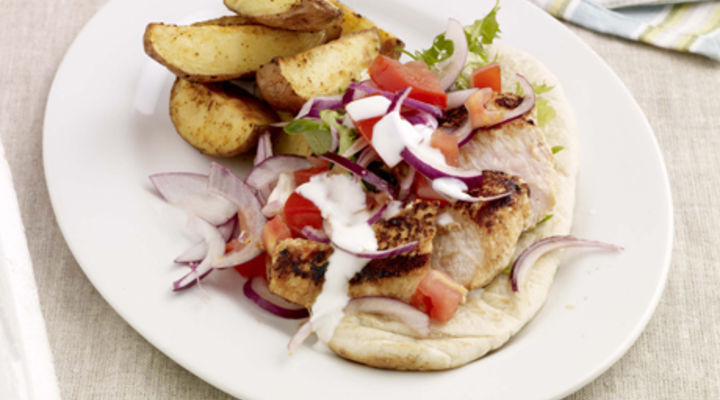 Chilli, Lime & Yogurt Marinated Chicken with Pitta Bread & Spicy Wedges