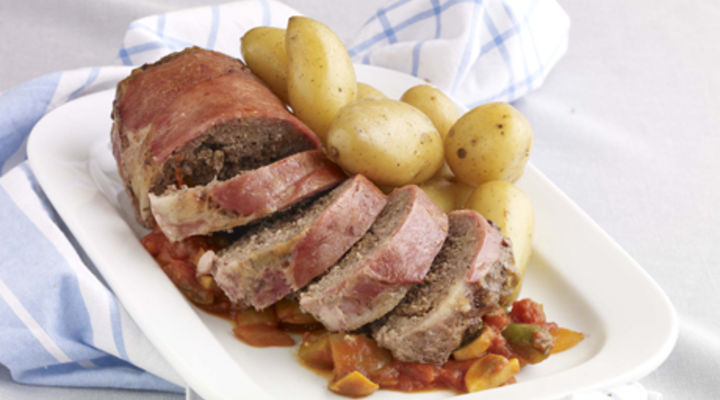 Meatloaf with Chunky Tomato Compote and Buttered Baby Potatoes