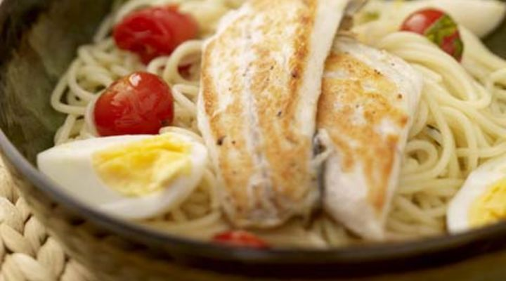Oregano Scented Seabass with Cherry Tomato Spaghetti