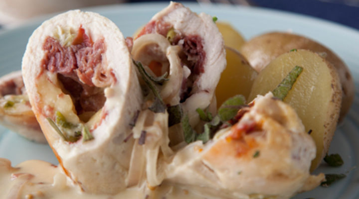 Roulade of Chicken with Cooleeney, Sundried Tomatoes & Prosciutto Ham