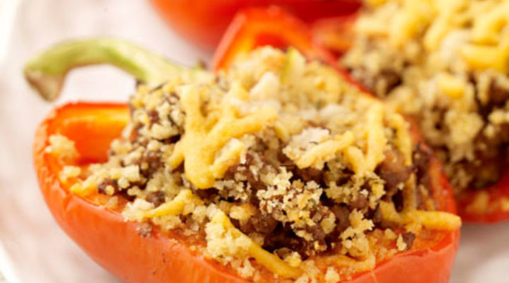 Stuffed Peppers with dressed Salad Leaves