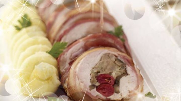 Turkey Escalope with Cranberry & Chestnut Stuffing with Smokey Bacon Wrap