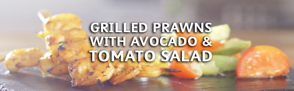Grilled Prawns Avocado Tomato Salad