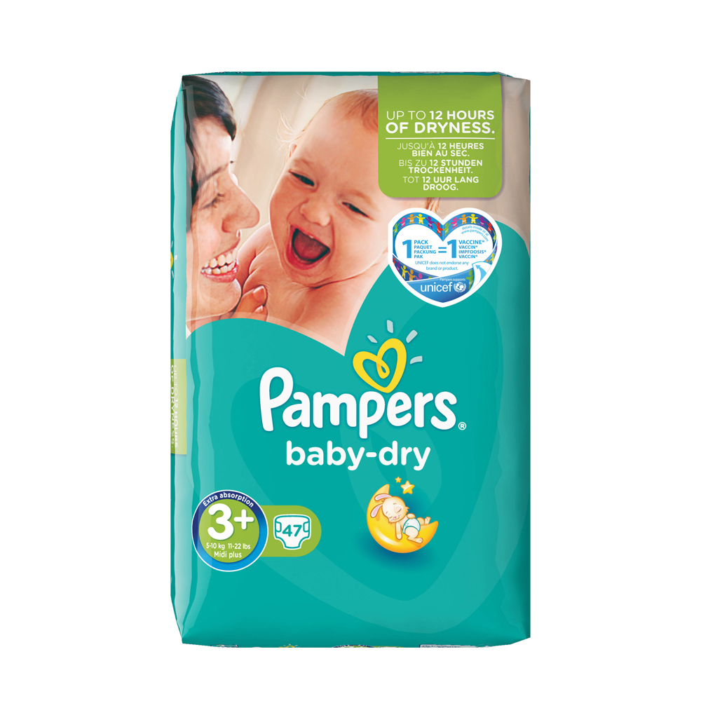 pampers baby dry size 3 midi plus essential pack 47. Black Bedroom Furniture Sets. Home Design Ideas