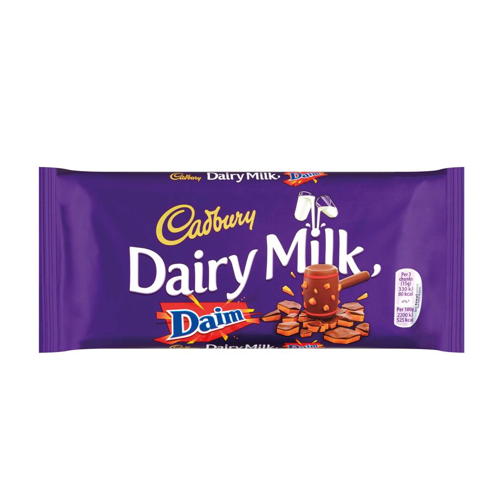 cadbury dairy milk with daim chocolate bar 120g supervalu