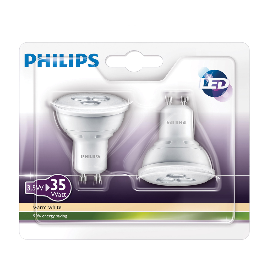 philips 35 watt gu10 led twin pack supervalu. Black Bedroom Furniture Sets. Home Design Ideas