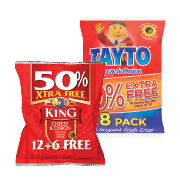 Tayto/King Cheese & Onion Crisps 12 pack 300g